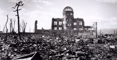 2006-10-19 00:00:00 epa00843693 (FILES) A files handout photograph of the Hiroshima Dome following A-bomb exploded over the city on 6 August 1945.The A-bomb blast that killed over 140,000 people in Hiroshima was the first of only two nuclear bombs ever to be used. With tensions growing in east Asia over North Korea's nuclear tests and intentions to test more nuclear weapons the U.S is concerned a nuclear arms race could begin in earnerst across east Asia. Japan is the only nation on earth ever to experience the devestating effects of a nuclear explosion. EPA/A PEACE MEMORIAL MUSEUM HANDOUT